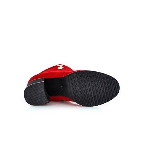 Rot AdeeSu Feste Business Damen Metall Legging Stiefel Mesh Ornament 8q8TzF