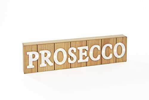Prosecco LED Light Up Cartel de madera, forma de bloque de ...