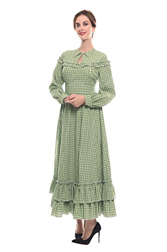 NSPSTT Women Girls American Pioneer Colonial Dress Prairie Costume (XXX-Large, Green 1) ()