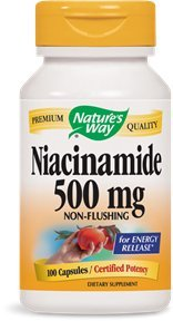 Nature's Way Niacinamide 500mg Non-flushing for Energy Release, 100 Capsules, 100 Count