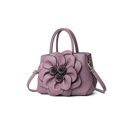 14 X Tote Suitable Modern Use Tote Work X Crossbody 22 CM Tote and Leather Bag for Purple Lady PU Tote Flower 3D Purple 30 Beautiful Everyday Travel Medium txwAqqBg