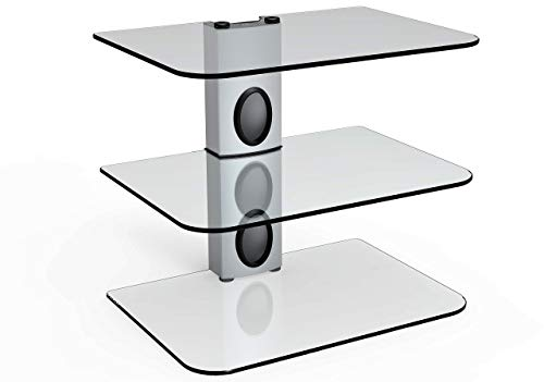 Gold Line 3 x Silver Floating Shelves with Strengthened Tempered Clear Glass for DVD Players/Cable Boxes/Games Consoles/TV Accessories (Renewed)