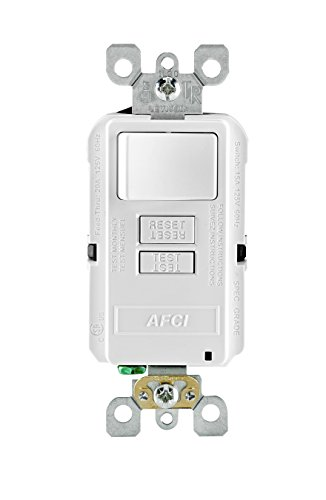 Leviton AFSW1-W SmartlockPro Outlet Branch Circuit Combination Arc-Fault Circuit Interrupter with Switch, 15-Amp, 120-volt, - Circuit Interrupters Fault Arc