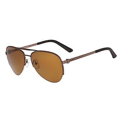 Calvin Klein Collection Mens Polarized Semi Rimless Aviator Sunglasses Brown O/S