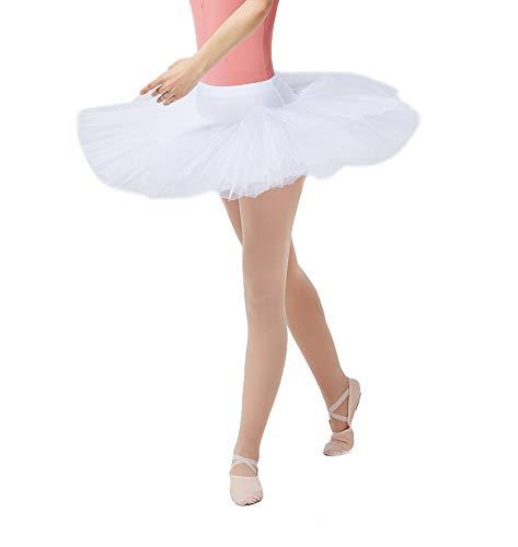 (DANCEYOU Classic Women's Ballet Tutu Skirt for Dance Practice Performance White Size M)