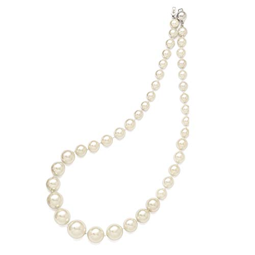 Sterling Silver Majestik 8-16mm Graduated White Shell Bead Necklace