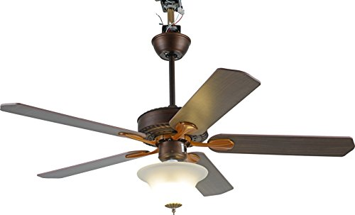 Biscayne Ceiling Light (Induxpert 52-Inch Ceiling Fan With 5 Red Mahogany/Oak Stained Blades & LED Light Kit - Reversible Air Flow - 5880 CFM - 3 Speeds - Frosted White Glass Light Bowl - Remote Control - Quiet)