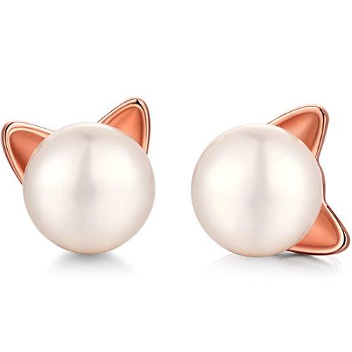 4 Mm Pearl Stud (Cat Stud Earrings,Naughty Cute Cat Stud Earrings,925 Sterling Silver and Freshwater Cultured Pearl Stud Earrings,Cat Pearl Earrings,Pearl Cat Earrings,Lovely Silver Cat Earrings,Women Cat Earrings)
