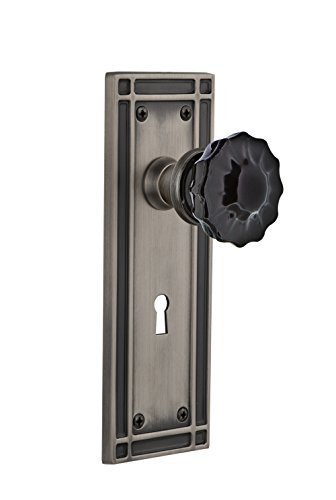 Nostalgic Warehouse 727488 Mission Plate Interior Mortise Crystal Black Glass Door Knob In Antique Pewter