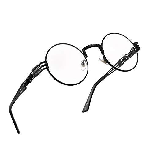 RANHUU Steampunk Round Glasses for Men and Women John Lennon Glasses Quavo Circle Metal Frame Eyewear (Black Frame/Clear ()