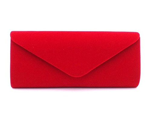 Cross Clutch Evening Red Retro Bag Handbag Nodykka Party Envelope Body Wedding Velvet wI4F8q