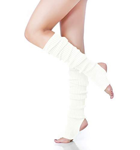 - V28 Women's Neon Knit Leg Warmer for 80s Party Dance Sports Yoga (61-White)