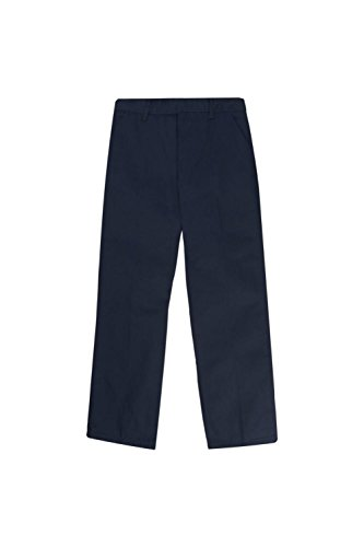 Navy School Uniform Pants (French Toast Big Boys' Flat Front Double Knee Pant With adjacent Waist, Navy, 8)