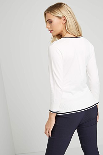 Roman Originals Femme Pull Manches 3/4 A Pois - Printemps Ete Uni Casual Elastique Simple Confortable - Rose Ivoire