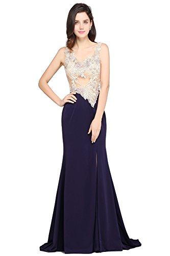 Spitze Cocktailkleid Ballkleid Damen Blau Lang Abendkelid MisShow® Marine 2017 Elegant Applikationen Meerjungfrau Tdwxgq