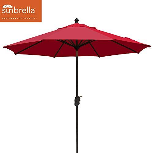 EliteShade Sunbrella 11ft Market Umbrella Patio Outdoor Table Umbrella with Ventilation (Sunbrella Red)
