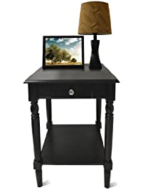 Convenience Concepts French Country End Table With Drawer And Shelf, Black