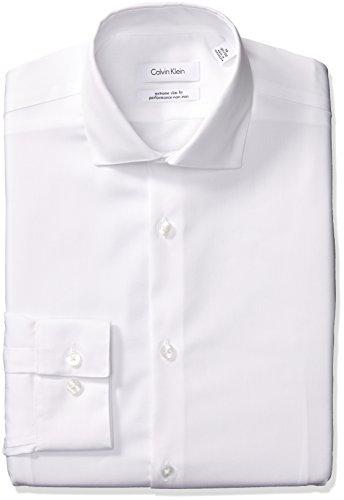 Calvin Klein Men's Dress Shirts Xtreme Slim Fit Non Iron Herringbone, White, 15