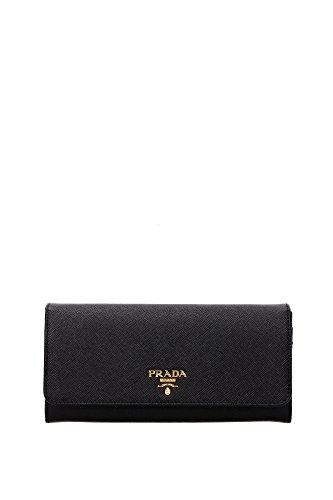 Prada Black Leather Long Wallet 1MH132 Saffiano Triang Nero Zip Around