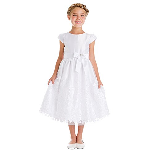 - Sweet Kids Big Girls White Satin Flower Patch Mesh Communion Dress 10