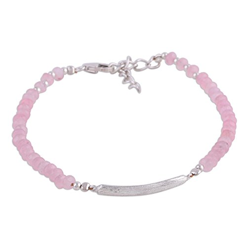 "NOVICA Rose Quartz .925 Sterling Silver Beaded Bracelet, 7.75"""
