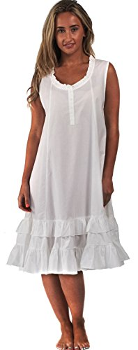 The 1 for U Sleeveless 100% Cotton Nightgown - Layla - White (Cotton Ruffled Nightgown)