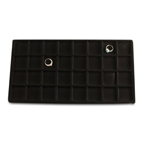 Black Flocked Tray Inserts - 32 Compartment Black Flocked Tray Insert 12pc Lot