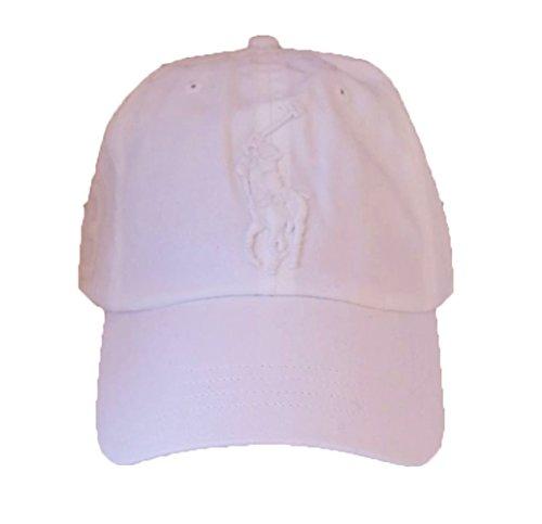 Dragon Logo Hat - Polo Ralph Lauren Men Big Pony Logo Hat (White / White Pony)