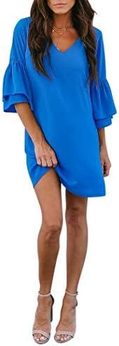 BELONGSCI Womens Dress V Neck Sleeve product image