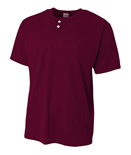 - A4 Sportswear Youth Maroon XL Custom Front &/or Back 2-Button Mesh Henley Uniform Jersey Top