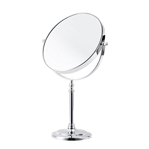 FIRMLOC Makeup Vanity Mirror 7X Magnifying Double-Side Tabletop Swivel Comestic Mirror Chrome Finish 15-inch Height ()