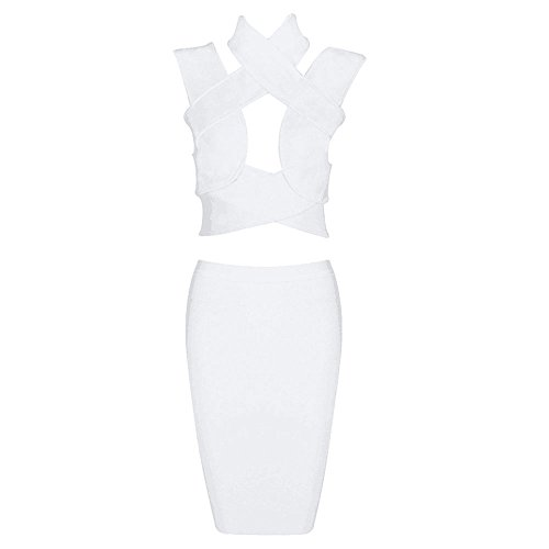Set Dress Piece Hlbandage Out Sleeveless Cross Blanco And Crop 2 Top Skirt Cut Bandage qw74nBzqxv