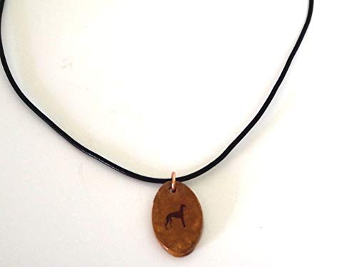 Greyhound Dog Silhouette Necklace Pendant Jewelry Ceramic Pottery Oval Adjustable ()