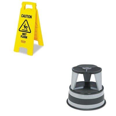 (KITCRA100182RCP611277YW - Value Kit - Cramer Original Kik-Step Steel Step Stool (CRA100182) and Rubbermaid Caution Wet Floor Floor Sign (RCP611277YW))