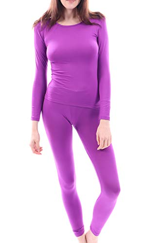 Women's Microfiber Fleece Thermal Underwear Long Johns Set AZ 2000 Purple L ()