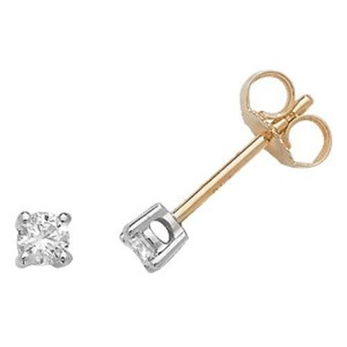 Boucles d'oreilles clous or blanc 18 carats G/H/SI2 0,20 ct