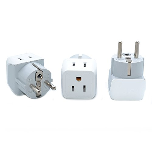 Ceptics CT-9 USA to Schuko Germany, France, Russia Travel Adapter Plug - Type E/F (3 Pack) - Dual Inputs - Ultra Compact (Does Not Convert (220 Adapter)