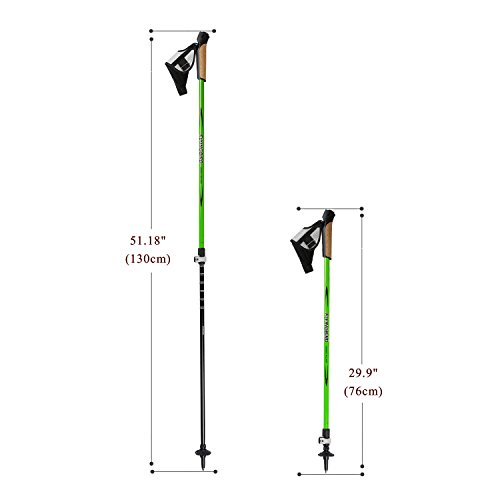 OUTAD Trekking poles Travel Hiking Poles Ultralight Retractable Carbon Fiber Walking Anti Shock Sticks One Pair ( Green)