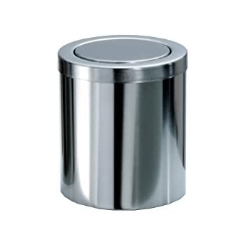 Dwba stainless steel round extra small countertop wastebasket trash can w swing lid for Bathroom wastebasket with lid
