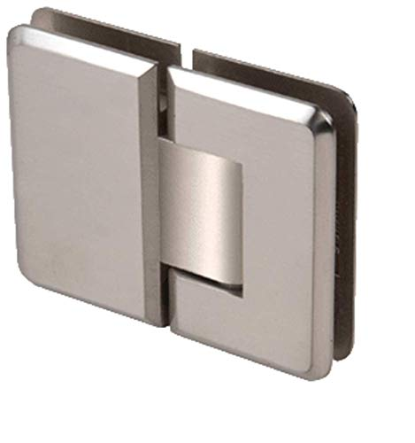 - CRL Pinnacle 180 Series Brushed Nickel 180186; Glass-To-Glass Standard Hinge