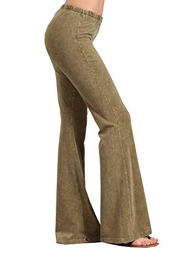 - Zoozie LA Women's Bell Bottoms Stretch Pants Tie Dye Pale Olive 1X Also fits 2X