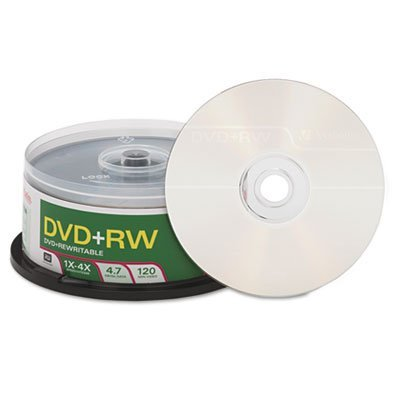 DVD+RW Discs, 4.7GB, 4x, Spindle, 30/Pack, Sold as 1 Package