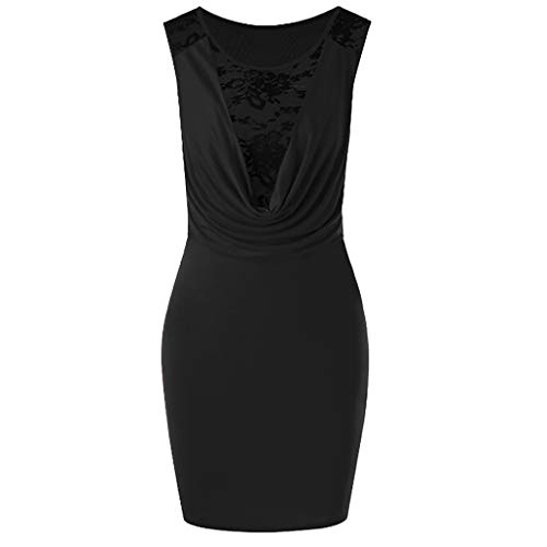 New!Qingell Women Vintage Lace Dress Summer Sleeveless Solid Slim Fit Hip Dress Crossover V-Neck Dress (M, Black) ()