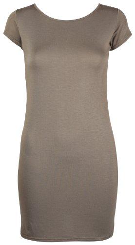 Mini Brun Femmes Shirt de Moulant femmes T Uni Jersey Mancheron Long Robe Top Extensible cou Rond Ras Clair aqwBA6a