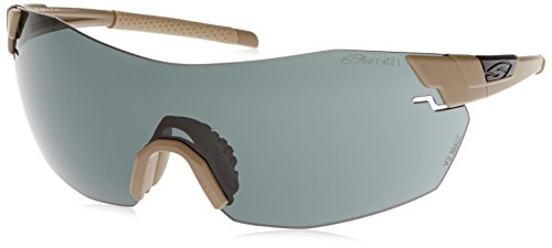 Smith Optics Elite Pivlock V2 Max Tactical Sunglass, Gray/Clear/Ignitor, Tan - Smith Pivlock V2 Max Sunglasses