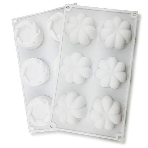 2 pcs Silicone Cake Molds, CNYMANY Flower Shape Muffin Mould Kitchen Pastry Baking Pan for Fat Bomb Chocolate Candy Cupcake Soap Candle - White
