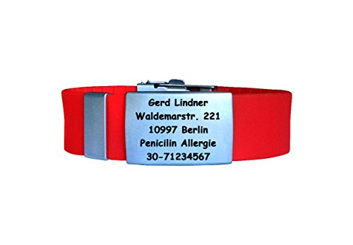 FREE Engraving Red Custom Emergency Medical ID Bracelet Medical Alert ID Bracelets Dog tag Diabetic Allergy
