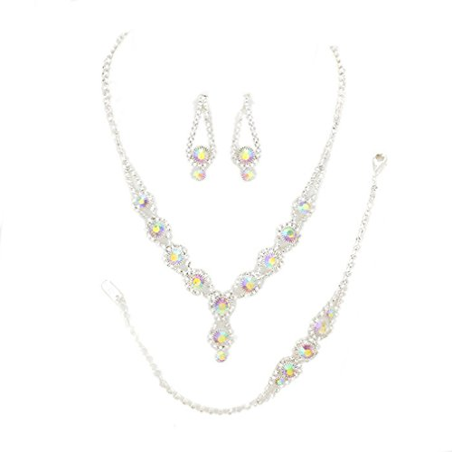 Christina Collection Affordable Wedding Jewelry Clear Bubble Rhinestone Pave Elegant Drop Set 3 Pcs Bracelet Earrings Necklace Set (Ab)