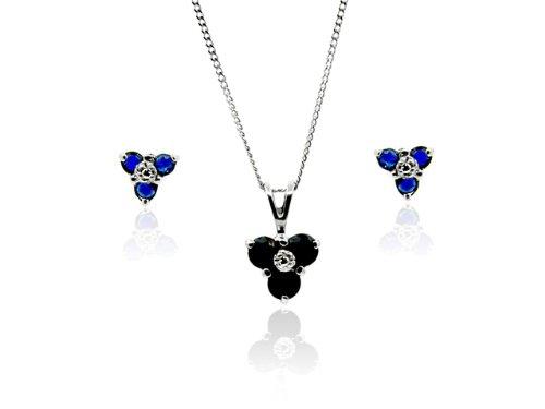Parure collier et boucles d'oreilles - 181P0605 - 13 - Femme - Or Blanc 375/1000 (9 Cts) 1.07 Gr - Saphir 0.015 Cts