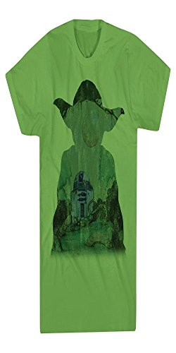 [Star Wars Yoda and R2-D2 Green Graphic Tee For Boys (XL)] (Family Disney Shirts)